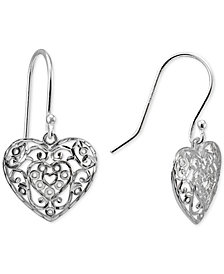 Giani Bernini Filigree Heart Drop Earrings in Sterling Silver, Created for Macy's
