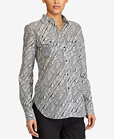 Lauren Ralph Lauren Paisley-Print Sateen Cotton Shirt