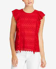 Lauren Ralph Lauren Eyelet Ruffled Cotton Top