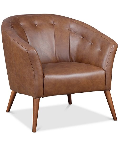 Astounding Furniture Montrose Leather Accent Chair Created For Macys Inzonedesignstudio Interior Chair Design Inzonedesignstudiocom