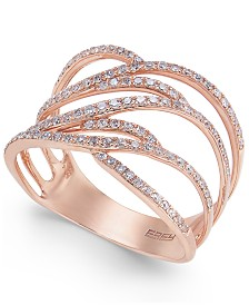Pavé Rose by EFFY Diamond Ring in 14k Rose Gold (3/8 ct. t.w.)