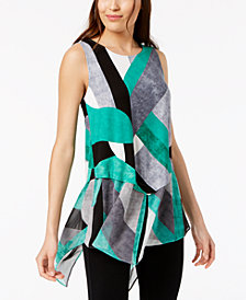 Alfani Printed Sleeveless Woven Hem, Created for Macy's