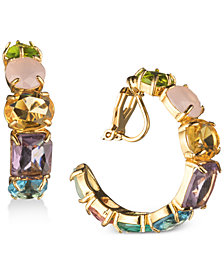 Carolee Gold-Tone Multi-Stone Clip-On Hoop Earrings