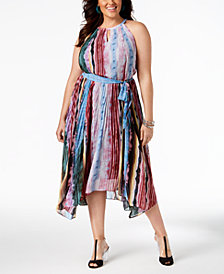 I.N.C. Plus Size Pleated Midi Dress, Created for Macy's