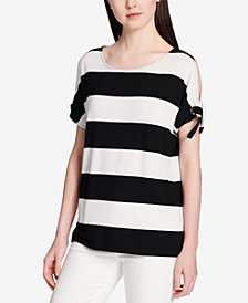 Calvin Klein Striped Tie-Sleeve Top