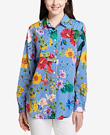 Calvin Klein Striped Cotton Floral Button-Down Top
