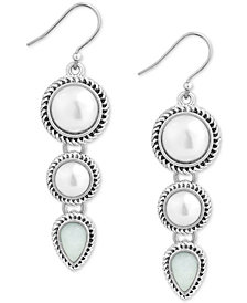 Lucky Brand Silver-Tone Imitation Pearl Triple Drop Earrings