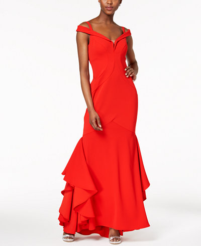 XSCAPE Off-The-Shoulder Mermaid Gown