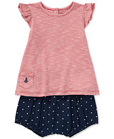 Ralph Lauren Cotton Slub Jersey Top & Seersucker Bloomers Set, Baby Girls