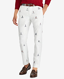 Polo Ralph Lauren Men's Embroidered Lighthouse Stretch Straight-Fit Pants