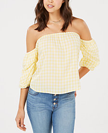 Hippie Rose Juniors' Off-The-Shoulder Gingham Top