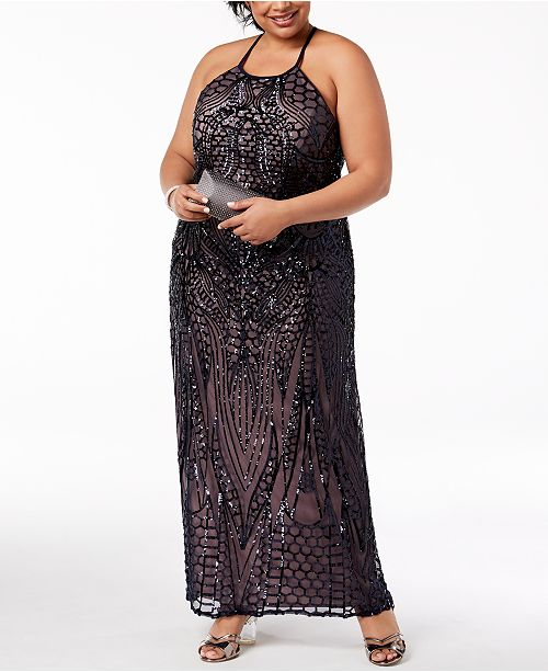 0059ed4eb7f Morgan   Company Trendy Plus Size Sequin-Patterned Backless Gown ...