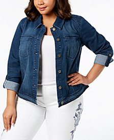 Style & Co Plus Size Tab-Sleeve Raw-Hem Denim Jacket, Created for Macy's