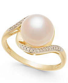Cultured Freshwater Pearl (9mm) & Diamond Accent Ring in 14k Gold