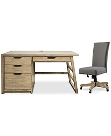 Ridgeway Home Office Furniture, 2-Pc. Set (Single Pedestal Desk & Upholstered Desk Chair)