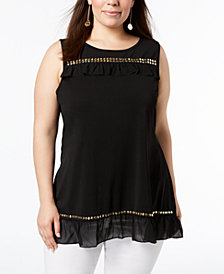 Belldini Plus Size Embellished Tunic Top
