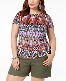 I.N.C. Plus Size Ruched Printed Burnout Top, Created for Macy's