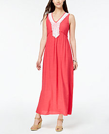 NY Collection Petite Crochet-Trim Maxi Dress
