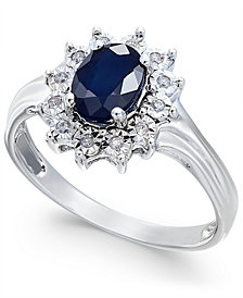 Sapphire (9/10 ct. t.w.) and Diamond Accent Ring in 10k White Gold