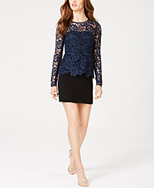 Rachel Zoe Alyssa Lace-Contrast Sheath Dress