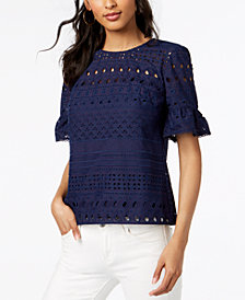Trina Turk Cotton Ruffle-Sleeve Eyelet Top