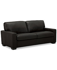 "Ennia 75"" Leather Apartment Sofa, Created for Macy's"