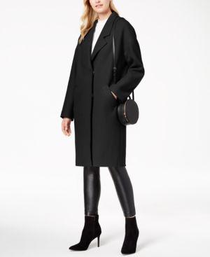 KENDALL + KYLIE Drop Shoulder Midi Coat in Black