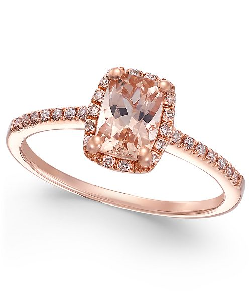 Macy's Morganite (3/4 ct. t.w.) and Diamond (1/10 ct. t.w.) Ring in 14k Rose Gold