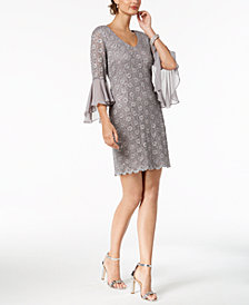 Connected Bell-Sleeve Sequined Lace Dress