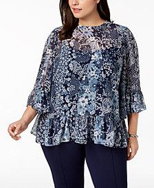 MICHAEL Michael Kors Plus Size Patchwork Floral-Print Ruffled Top