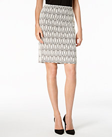 Kasper Printed Pencil Skirt