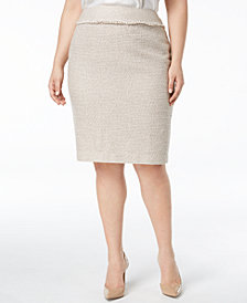Kasper Plus Size Tweed Pencil Skirt