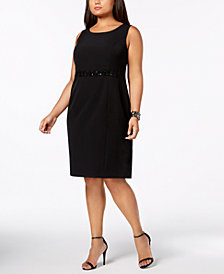 Kasper Plus Size Embellished-Waist Sheath Dress