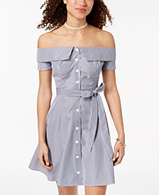 B Darlin Juniors' Striped Off-The-Shoulder Button Dress