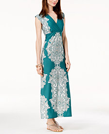 I.N.C. Scroll-Print Surplice Maxi Dress, Created for Macy's
