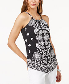 I.N.C. Petite Printed Hardware Halter Top, Created for Macy's