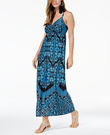 I.N.C. Printed O-Ring Maxi Dress, Created for Macy's