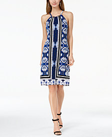 I.N.C. Printed Hardware-Neck Halter Dress, Created for Macy's