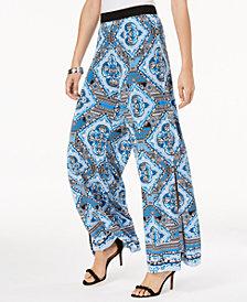 I.N.C. Printed Wide-Leg Soft Pants, Created for Macy's
