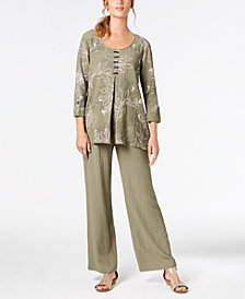 JM Collection Pleated Top & Wide-Leg Pants, Created for Macy's