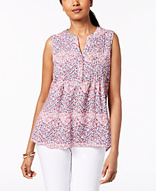 NY Collection Petite Pleated Split-Neck Top