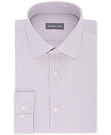 Michael Kors Men's Classic/Regular Fit Non-Iron Airsoft Stretch Performance Pink Stripe Dress Shirt