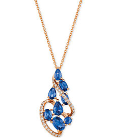 "Le Vian® Blueberry Sapphire™ (2-3/8 ct. t.w.) & Diamond (1/5 ct. t.w.) 18"" Pendant Necklace in 14k Rose Gold"
