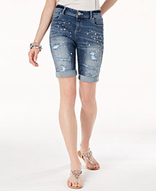 I.N.C. Ripped & Studded Bermuda Shorts, Created for Macy's