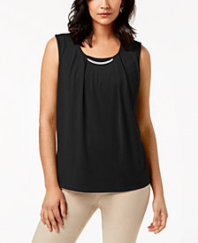 JM Collection Pleated Embellished Top, Created for Macy's