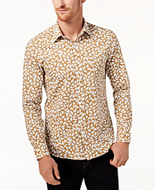 Michael Kors Men's Stretch Leaf-Print Classic Fit Shirt