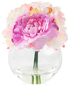 Peony Pink Floral Arrangement with Glass Vase By Pure Garden