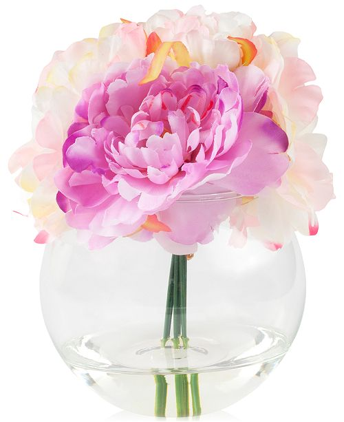 "Trademark Global Peony Pink Floral Arrangement with Glass Vase By Pure Garden, 7.5"" x 5.5"" x 5.5"""