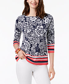 Charter Club Petite Printed Boat-Neck Top, Created for Macy's