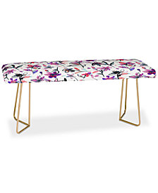 Deny Designs Ninola Design Purple Ink Flowers Bench